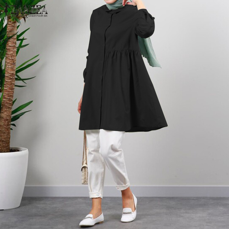2021 Fashion Muslim Tops ZANZEA Spring Autumn Ruffle Tops Women Casual Solid Long Sleeve Single breasted Pullover Tunic Chemise