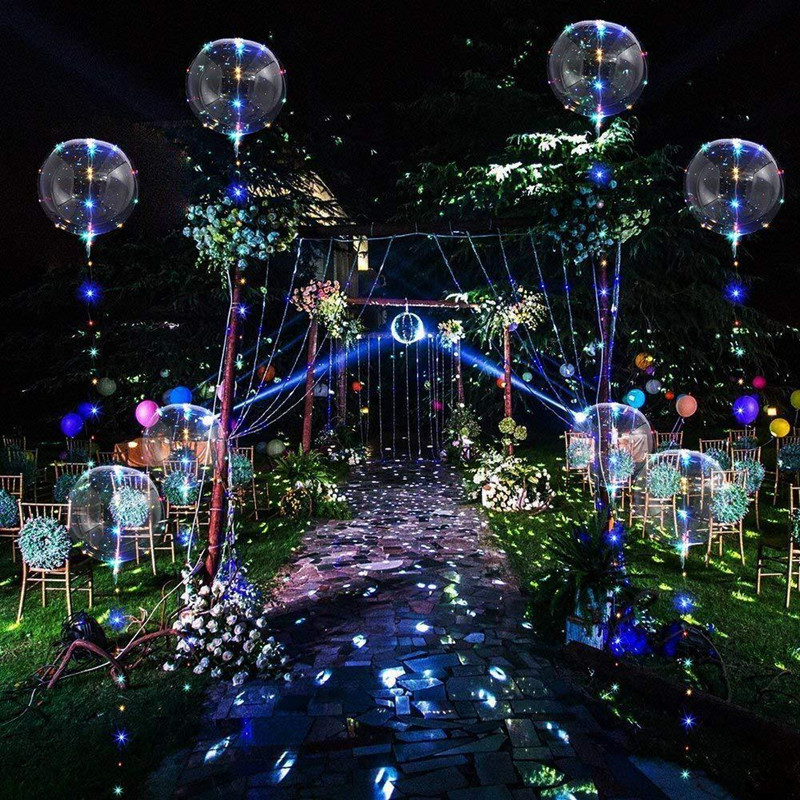 10Pcs 20inch Luminous Led Balloon Clear Bubble BOBO LED Light Wedding Birthday Party Decorations Kids