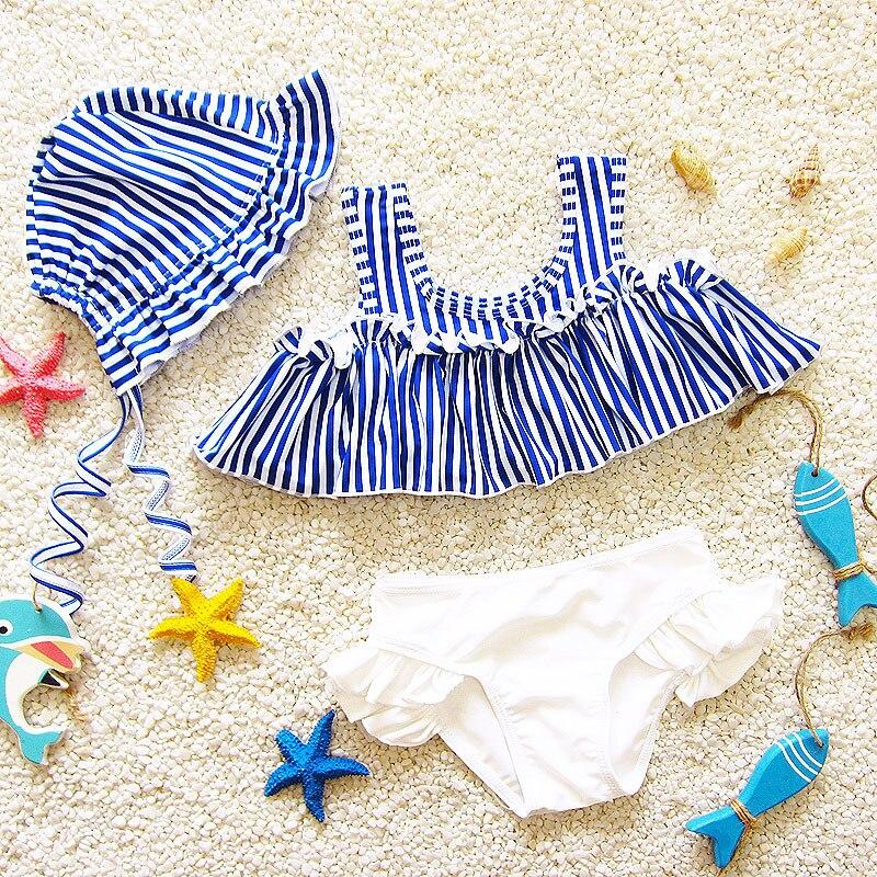 Korean-style New Style Hot Springs Navy Style GIRL'S Stripes Split Type Triangular Infants Children Sweet Cute Students Bathing
