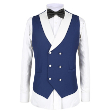 Double Breasted Waistcoat Navy Blue Vest Man Suit Vest Shawl Lapel Waistcoat For Wedding Suit Waistcoat