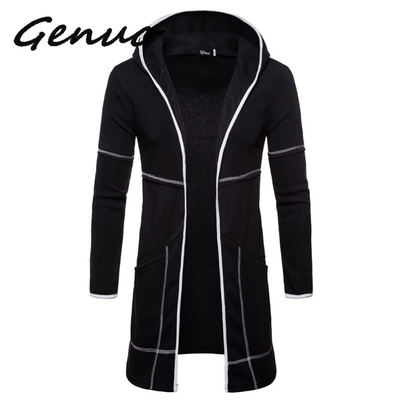 Men's Sweater Long Large Pocket Hooded Cardigan Fashion Windproof Casual Europe Size Top Coat Drop Shipping Discount Clothes