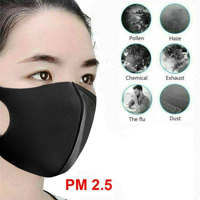 3PCS Washable Anti-Dust Mask Black Cycling Mouth Face Respirator Mask For Adults 5