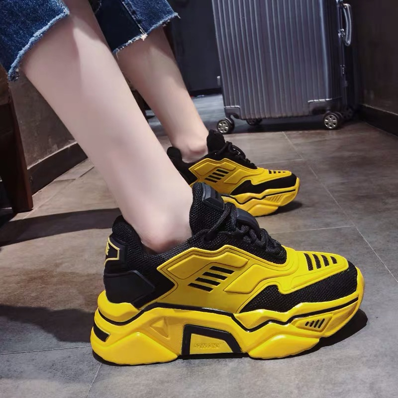 2020 Woman Chunky Sneakers Platform Korean Fashion Female Trainers Designers Red Yellow Women Old Dad Casual Shoes High Quality 1