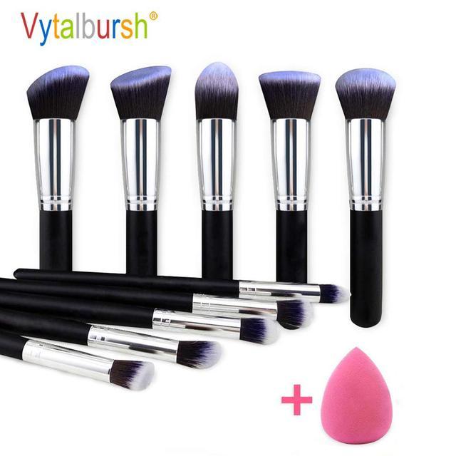 Conjunto de brochas de maquillaje 10 uds, brochas profesionales para maquillaje en polvo, brochas para maquillaje, cosméticos, pelo sintético suave