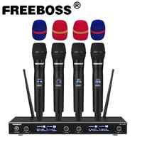 FREEBOSS FB-U400 UHF Fixed Frequency Karaoke Wireless Microphone Professional 4 Cordless Handheld Microphone 4 Channel Cordless