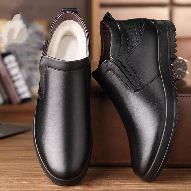 Leather Chelsea Boots Men Winter Shoes Plush Warm Shoes Fashion Zipper Booties Mens Ankle Boots Black Booties 687