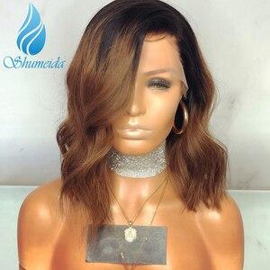 Image 4 - Pelucas frontales de encaje degradado de 13x6 colores cabello brasileño ondulado, Remy, encaje sin pegamento, cabello humano, encaje completo
