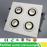 5pcs/lot Downlight Cob 4x7W 4x10W 4x12W 4 Head Rotate 360 Degree COB LED Downlight Recessed Down Lamp Warm White Cool White