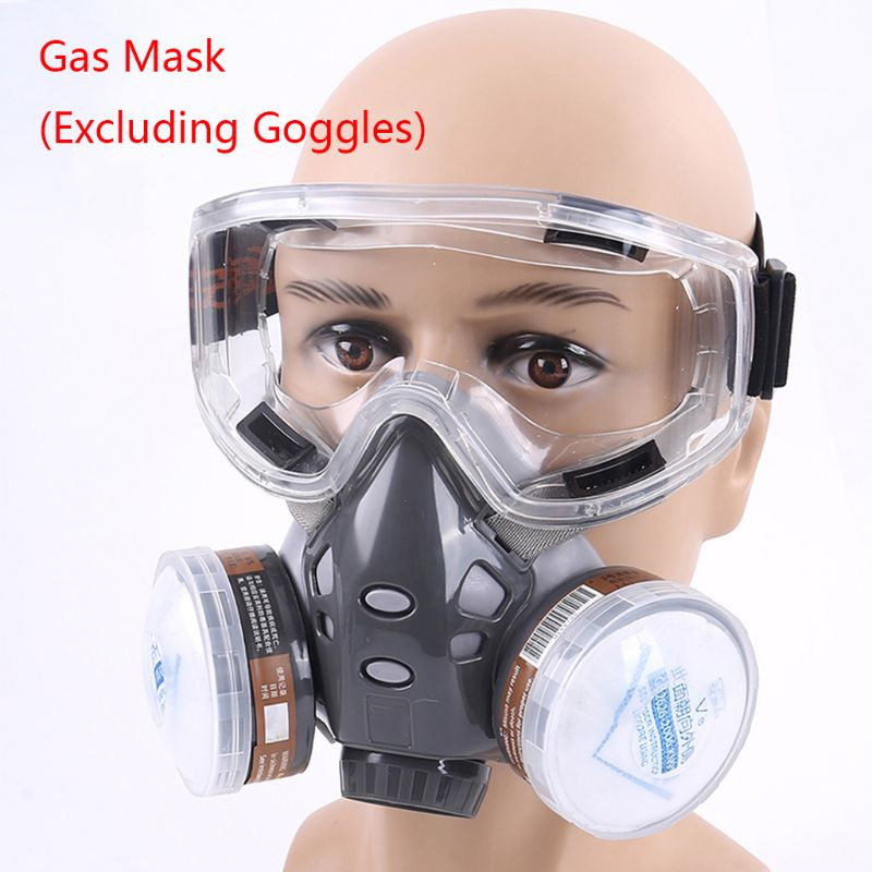 1Set 308 Half Face Respirator Dust Gas Mask For Painting Spray Pesticide Chemical Smoke Fire Protection No Glasses 18x7.5x15cm