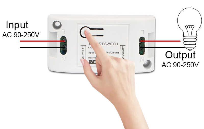 GERMA 433MHz AC 110V 220V 1 CH RF รีเลย์ตัวรับสัญญาณรีเลย์ไร้สายรีโมทคอนโทรลสำหรับหลอดไฟ LED แฟน DIY