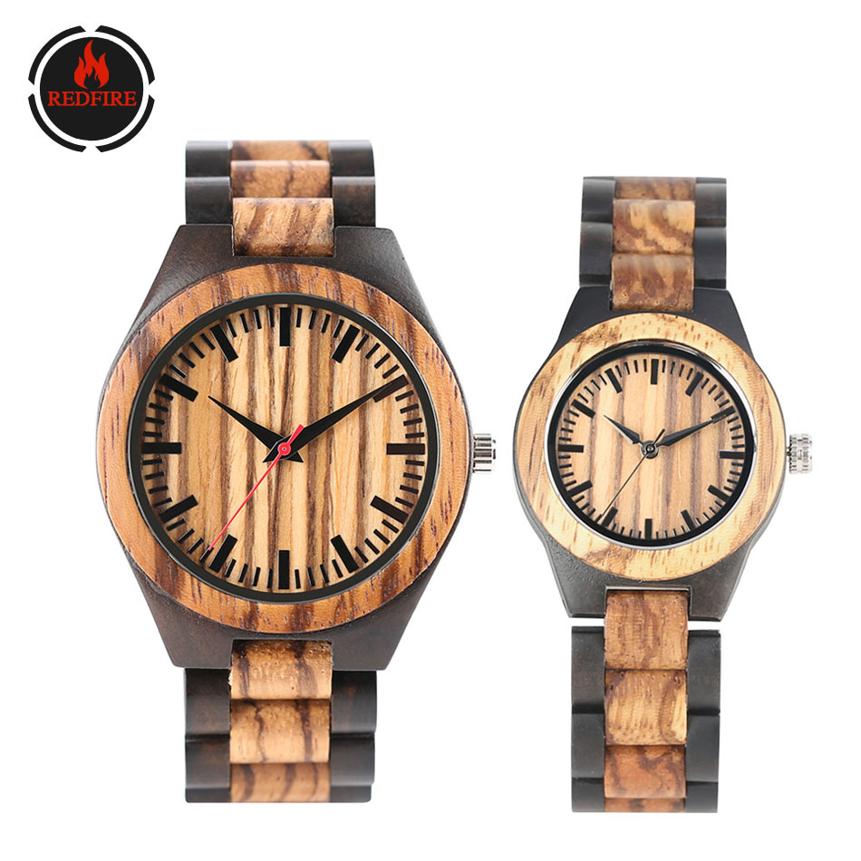 REDFIRE Hot Fashion Zebrawood Couple Watch Wooden Watch Band Valentines Day Watches Gifts  Wooden Lovers Clock Reloj De Pareja