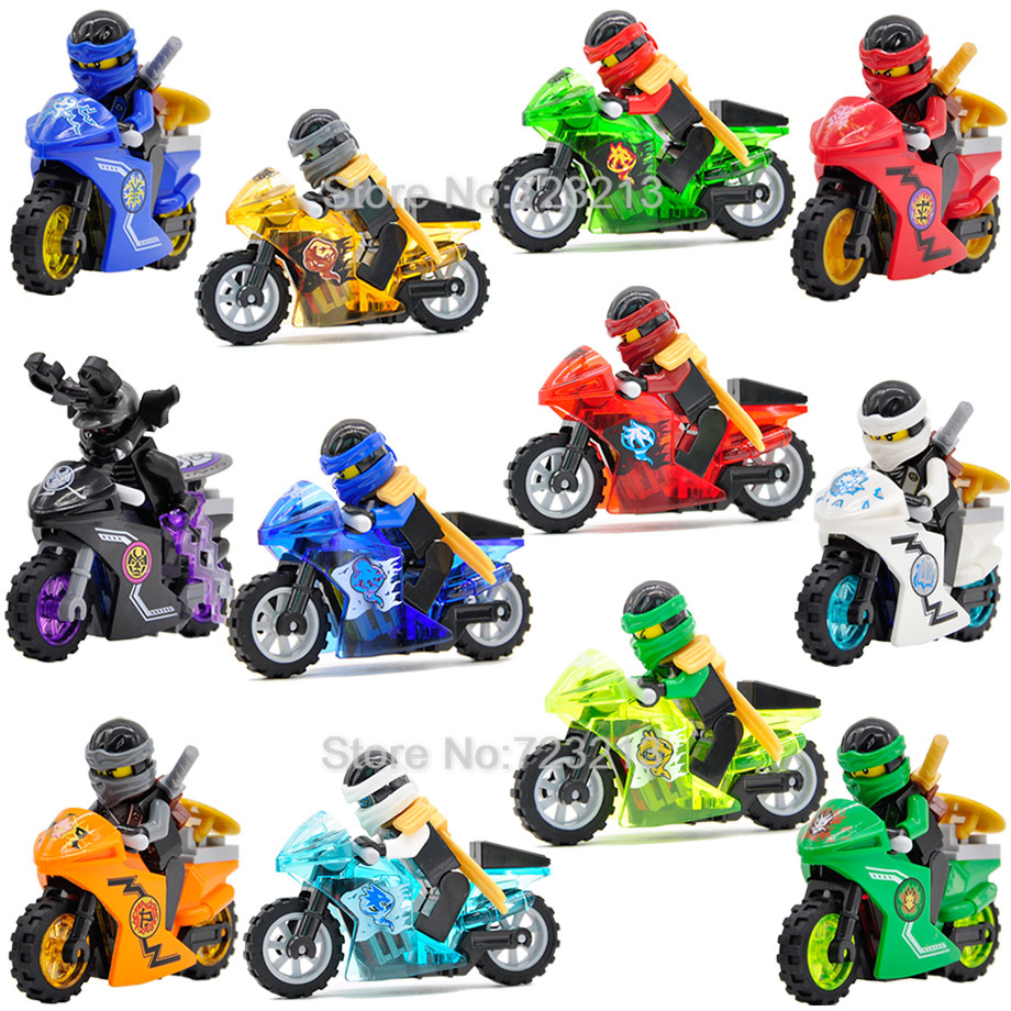 Single Ninja Motorcycle Jay Kai Zane Figure Lloyd Nya GARMADON Building Blocks Set Kits Bricks Toys For Children Legoing
