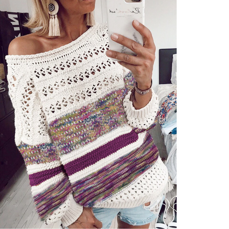 2019 Autumn Knitting Hollow Out Striped Purple Sweater Woman Long Sleeve Round Neck Leisure Jumper Plus Size Pullover
