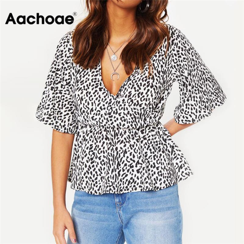 Summer Chiffon Blouses Sexy Deep V-neck Short Flare Sleeve Leopard Blouse Shirt Women Casual Tops Plus Size Chemisier Femme