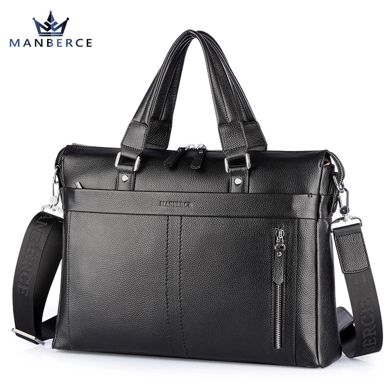 MANBERCE Brand Design Genuine Leather Men Bag Big 14