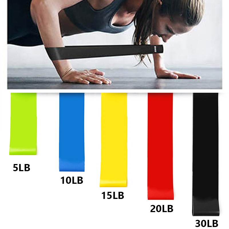 5PCS Yoga Resistance Rubber Bands Fitness Equipment 0.35mm-1.1mm Pilates Sport Training Workout Elastic Band Gym Fitness Bands