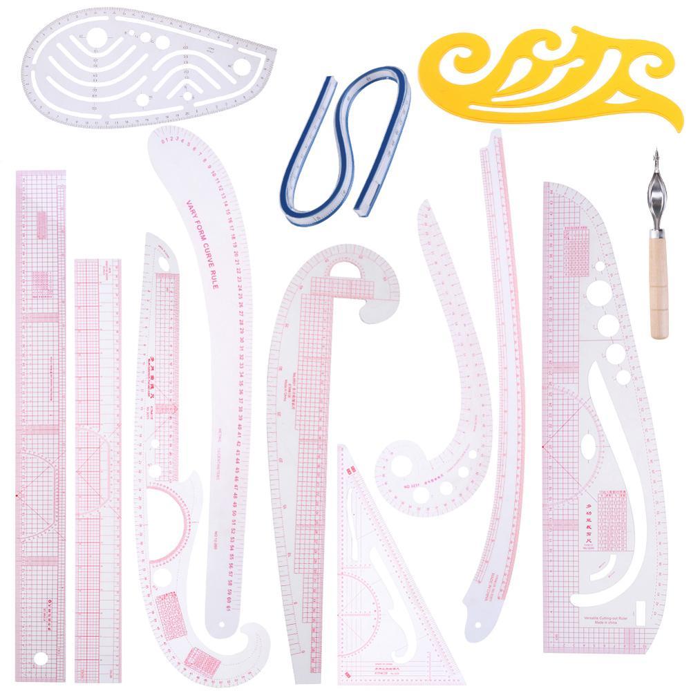Multi-function Sewing Ruler Curve Ruler Clothing Sample Garment Cut Cutting Pattern Making Metric Yardstick Drawing Tailor Tools
