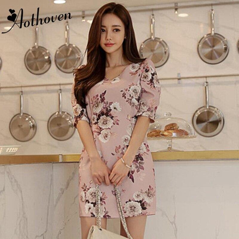 Autumn Pink Puff Sleeve O-neck Elegant Mini Office Dress Print Women Bodycon Bandage Dress Casual Flower Dress Ladies Vestidos