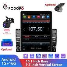 Podofo – autoradio Android, écran Vertical 10.1 pouces, 2 Din, lecteur multimédia vidéo HD 2,5d, GPS, FM, récepteur stéréo, pour voiture universelle