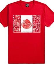 Czerwona chustka meksykańska flaga T koszula północna Cali meksyk północna Cal Rap Chicano Tee