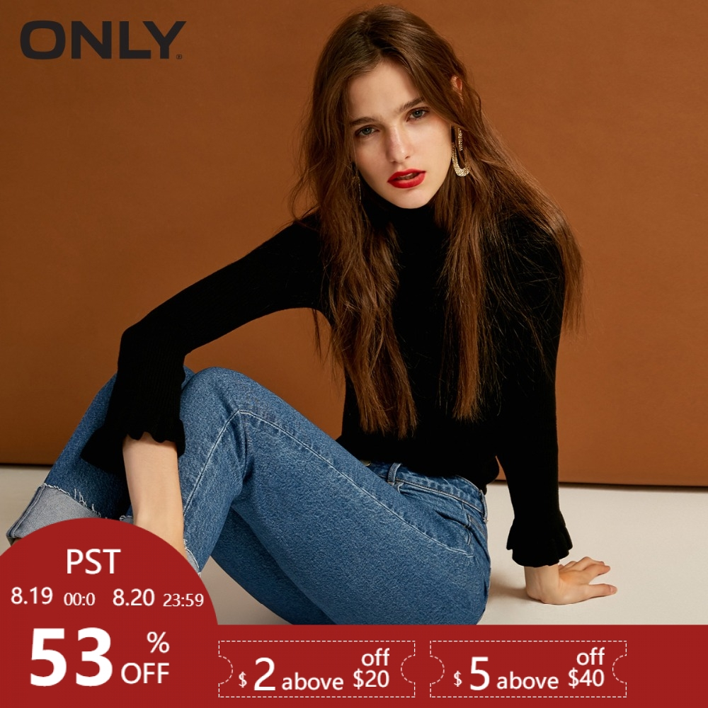 ONLY womens' autumn new slim high waist cropped   jeans   Curled design Leopard back waist card|118349571
