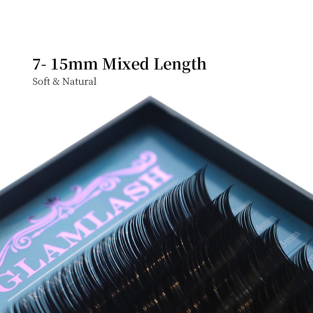 GLAMLASH 16Rows JBCD 7~15mm Mix In One Tray Natural Faux Mink Individual False Lash Eyelash Extension Makeup Cilia Professional