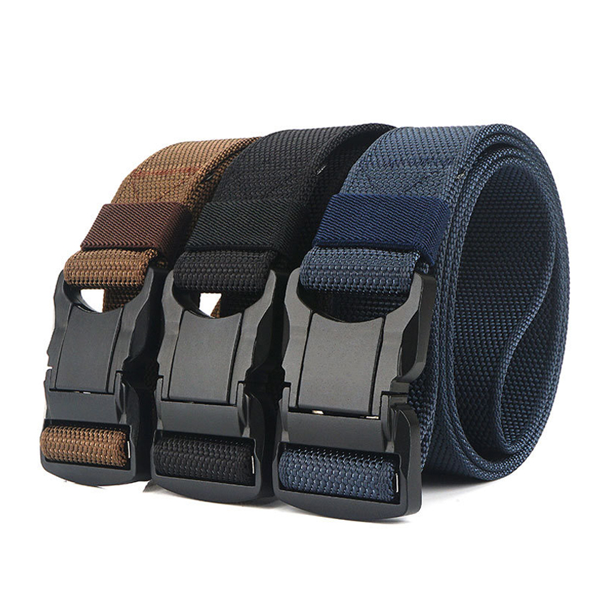 2020 New Black Aluminum Pluggable Safety Buckle Men Belt Casual Trousers Belts Outdoor Tactical Designer Male Belt Top Quality