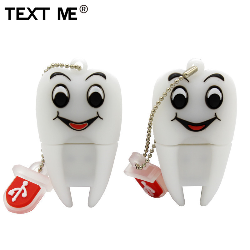TEXT ME Cartoon 2 Model Tooth  Usb 2.0 Usb Flash Drive 4GB 8GB 16GB 32GB 64GB Pendrive