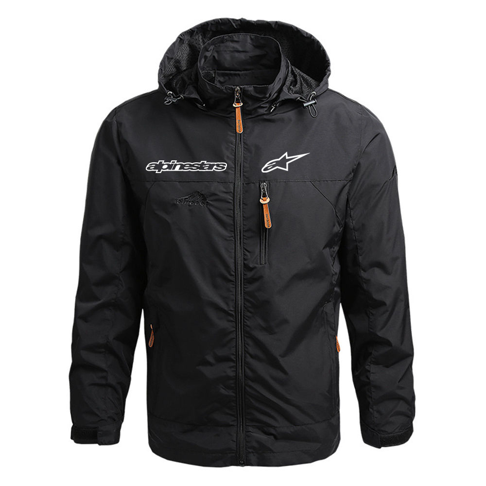 Men's Autumn And Winter Windproof Warm Jacket Casual Outdoor Hiking Camping Lightweight Jacket Zipper Waterproof Hooded Jacket