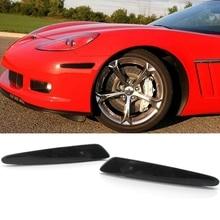 1 пара, черный отражатель, передний бампер, боковой габаритный фонарь, поворотники, лампы, для Chevy Corvette C6 05-13(без лампы