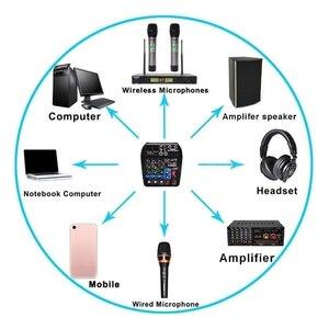Image 5 - Beruf Mischen Konsole USB Port Angetrieben Mini Bluetooth 4 Kanal Bühne Leistung Live Action Audio Mixer