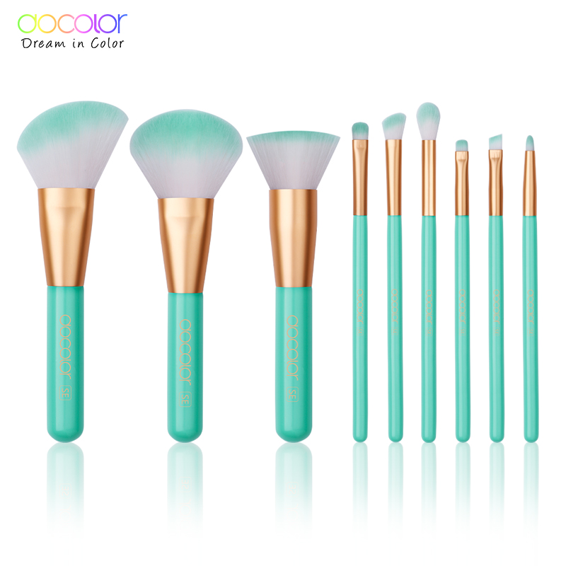 Docolor 9 pçs pincéis de maquiagem conjunto de cosméticos fundação em pó blush sombra de olho lábio mistura compõem escova kit de ferramentas de beleza maquiar
