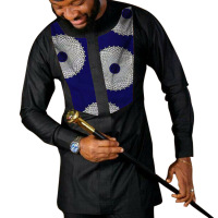 African Print Shirt Men's Shirts Dashiki Tops Black & Wax African Plus Size Custom Made Groom Men's Ankara Outfit