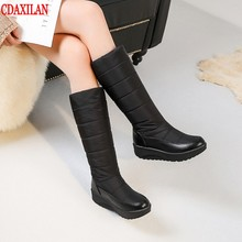 CDAXILAN new to snow boots womens down thickened plush warmth legs High-knee mid heel wedge ladies winter