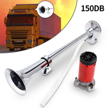 150dB 12V Single Trumpet Car Air Horn Chrome Super Loud with Compressor For Auto Truck Lorry Boat Train
