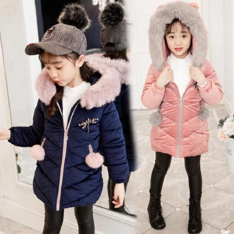 בנות חם חורף מעיל פרווה מלאכותית אופנה ארוך ילדי סלעית מעיל מעיל ילדה הלבשה עליונה בגדי בנות 4-12 שנים