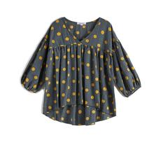 CupofSweet 5-14Y Kiddie Polka Dot Girls Tops Blouses Kids Clothing 2019 Spring Bubble Cropped Sleeve Casual Long Sleeve Pullover все цены
