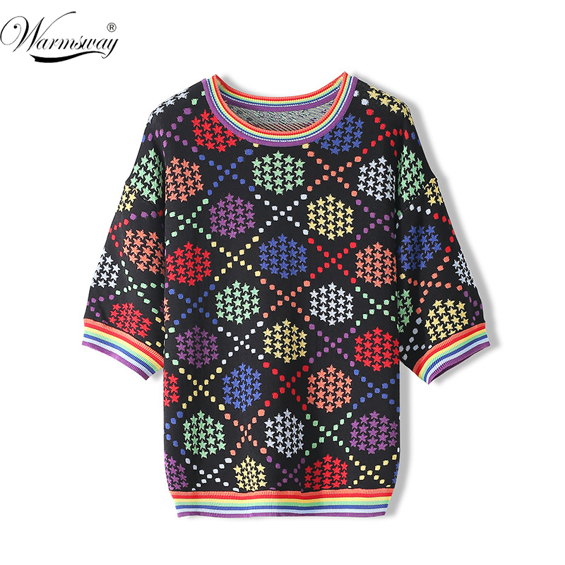 Luxury Design 2020 Spring New Rainbow Color Top Five-pointed Star Jacquard Loose Short-sleeved Sweater Women T-Shirt CY-185