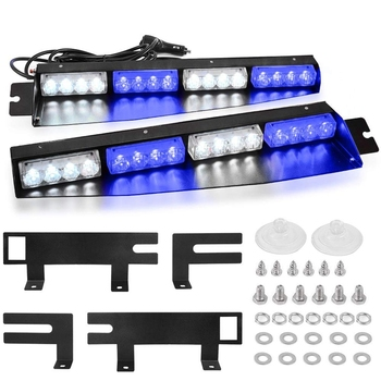 NEW-(Blue & White) 32 LED Visor Lights 15 Flash Patterns Emergency Strobe Lights Windshield Split Mount Light Bar Law Enforcemen