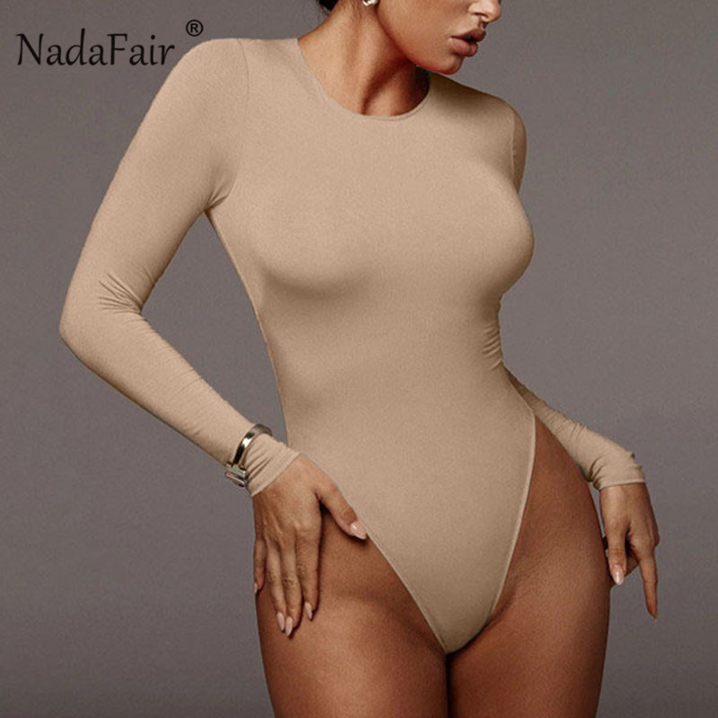 Nadafair Winter White Bodysuit For Women Long Sleeve Bodysuit Women Bodycon Black Bodysuits One-Piece Body Female 2020 Romper