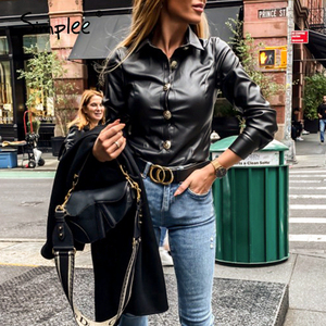 Image 5 - Simplee בציר ארוך שרוול נשים חולצה חולצה מזדמן תורו למטה צווארון שחור חולצה חולצה משרד ליידי כפתור עור מפוצל חולצה