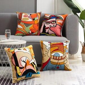 Topfinel вышивка наволочки подушки Чехлы Пикассо декоративные подушки Чехлы для дивана автомобиля абстрактные наволочки 45х45см