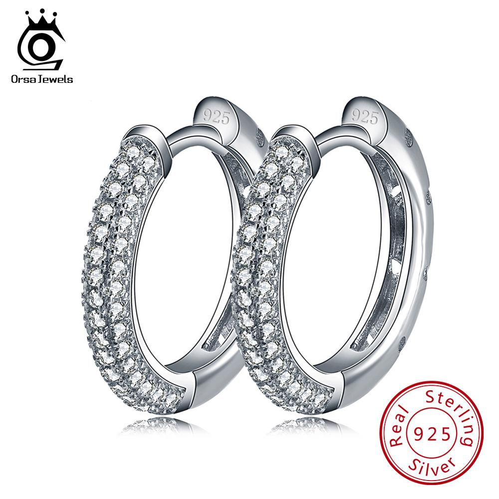 ORSA JEWELS Authentic 925 Sterling Silver Hoop Earrings for Women AAA Cubic Zircon Round Earring 2019 Fashion Jewelry Gift SE81