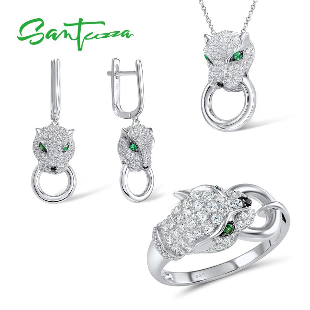 SANTUZZA argent ensemble de bijoux pour les femmes pur 925 en argent Sterling à la mode panthère anneau boucles d'oreilles pendentif ensemble blanc CZ bijoux de mode