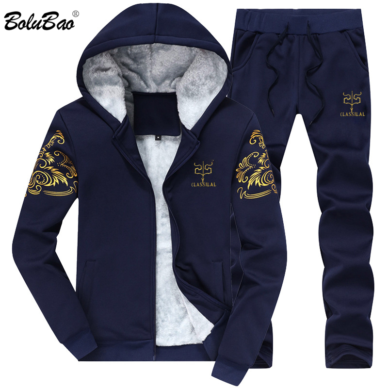BOLUBAO Fashion Men Casual Sets Hooded Warm Sweatshirts 2019 Autumn Winter Male Thicken Tracksuit 2PC Jacket + Pant Men's