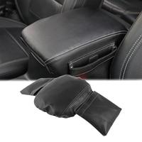 For Jeep Wrangler JL 18+ Armrest Box Center Console Armrest Pad Black Leather Pocket Design Car Interior Accessories Car Styling