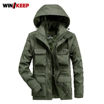 Spring Autumn Mens Hiking Jacket Multi-Pockets Military Tactical Coat Windbreaker Hoody Jacket Man Outdoor Sport Camping Jackets