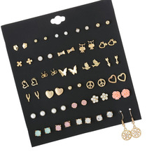 30 Pairs/set Fashion Gold Metal Alloy Small Earrings For Women Cute Heart Owl Pink Resin Flower Stud Set Girls Jewelry