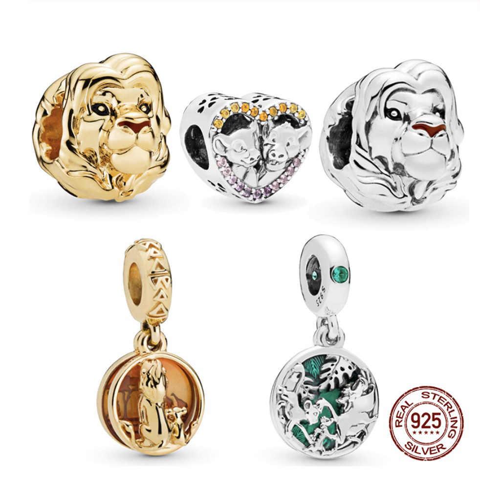 מקורי אמיתי 925 כסף חרוזים קסם מלך אריות סימבה תליון קסמי Fit פנדורה צמיד שרשרת DIY תכשיטי נשים