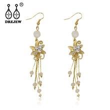 DREJEW Fashion Rhinestone Alloy Gold Flower Statement Dangle Earrings 2019 Korean Long Tassel Drop Earrings for Women HE8071